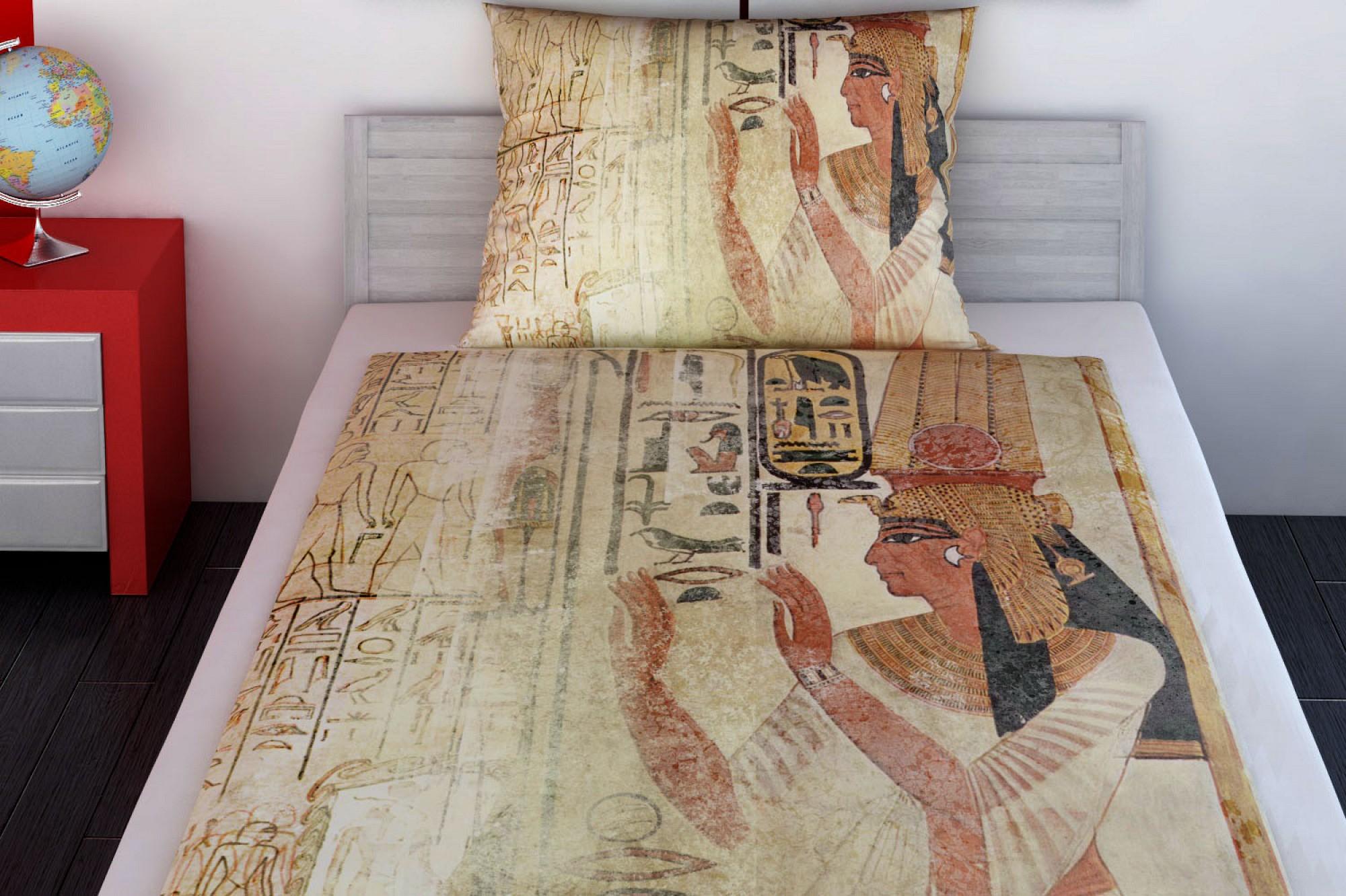 jugend bettw sche egypt aus baumwoll satin mit motiven aus gypten glamonde. Black Bedroom Furniture Sets. Home Design Ideas