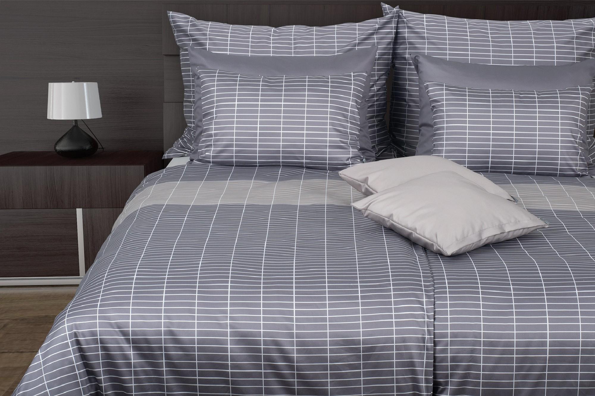 satin bettw sche in grau beige mit feinem karomuster glamonde. Black Bedroom Furniture Sets. Home Design Ideas