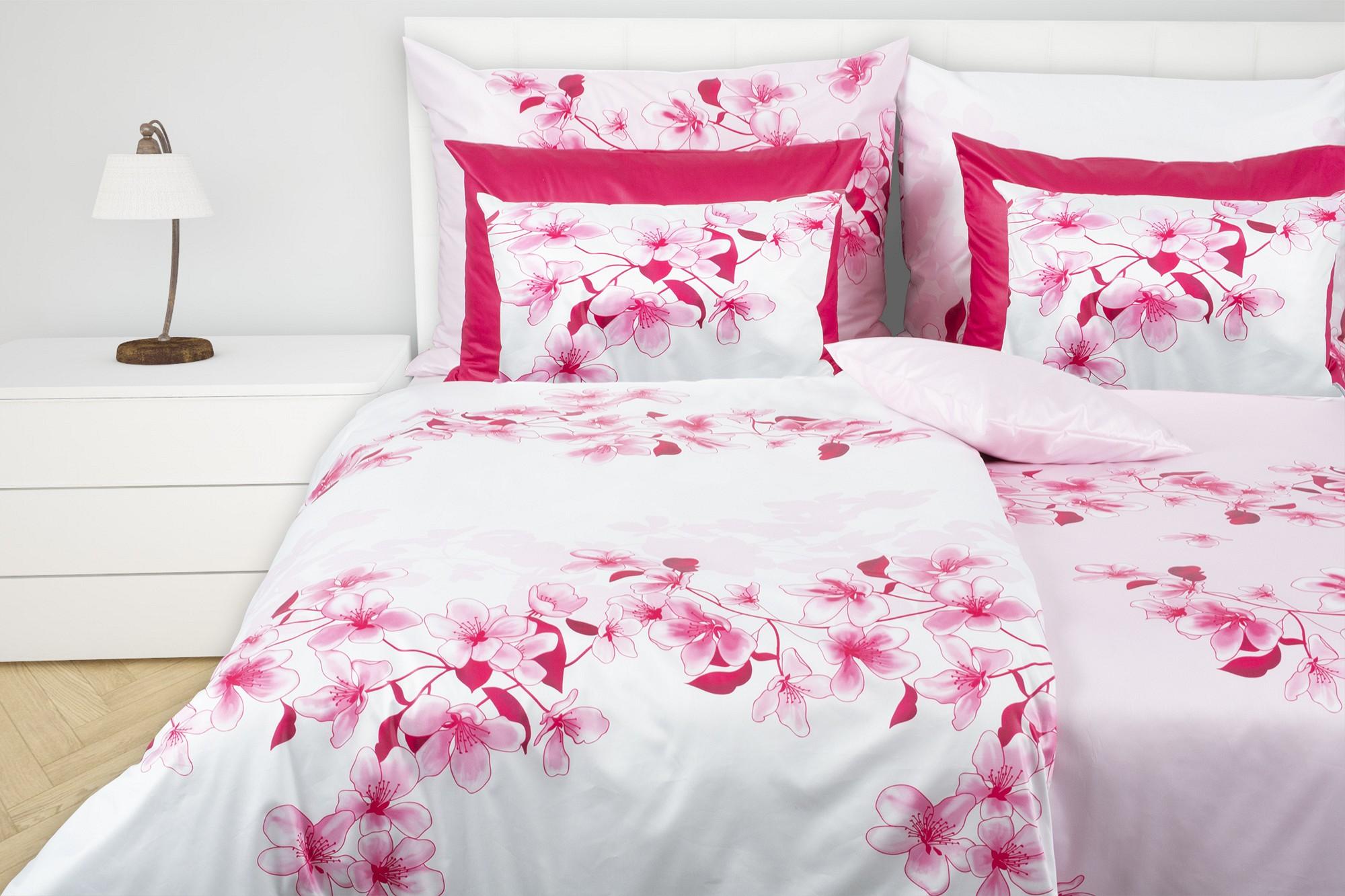 Bettwäsche Aus Baumwoll Satin Mit Rosa Blütenstreifen Glamonde
