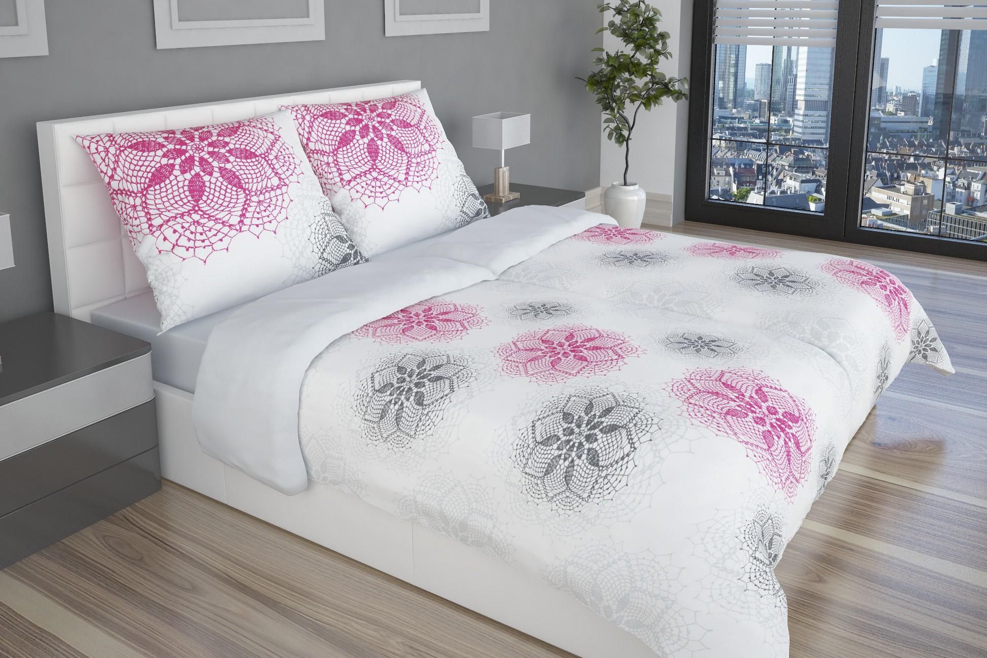 grau rosa satin bettw sche mit kristallartigem muster glamonde. Black Bedroom Furniture Sets. Home Design Ideas