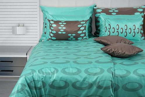 aparte satin bettw sche in t rkis und braun mit ovalen glamonde. Black Bedroom Furniture Sets. Home Design Ideas